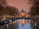 Kloveniers Burgwal Canal and Waag Historic Building  Nieuwmarkt  Amsterdam  Holland