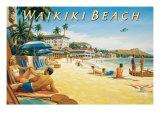 Waikiki Beach Giclée par Kerne Erickson