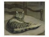 Chat sur un fauteuil Giclée par Théophile Alexandre Steinlen