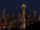 View of the Space Needle and Seattle's Skyline at Night  Washington