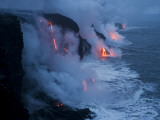 Lava Flows into the Ocean  Hawaii Volcanoes National Park  Hawaii