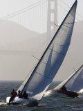 Sailboats Race on San Francisco Bay with the Golden Gate Bridge  San Francisco Bay  California