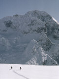 Ski Mountaineers Cross High Pass Dividing Ladakh and Kashmir  Great Himalaya Range  Kashmir  India