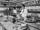 Two Waiters Behind the Counters of the Ristorante Diana  in Via Indipendenza  Bologna