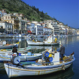 Fishing Boats at Port Town of Neapoli  Peloponnese  Greece  Europe