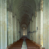 Interior of 12th Century Romanesque Church  Cunault in Anjou  Pays De La Loire  France