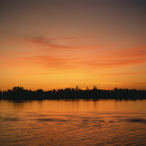 River Nile at Sunset  Water Reflecting Evening Sky  in Egypt  North Africa  Africa