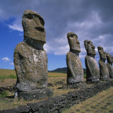 Moai Statues  Ahu Akivi  Easter Island  UNESCO World Heritage Site  Chile  Pacific