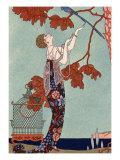 The Flighty Bird, France, Early 20th Century Reproduction d'art par Georges Barbier