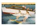 Women Waterskiing by Motorboat