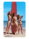 Three Woman Surfers in Bikinis Greetings from Ventura
