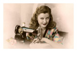 Sly Lady with Sewing Machine