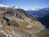 St Gotthard Pass  with First Autumn Snow on the Mountains  in Ticino  Switzerland