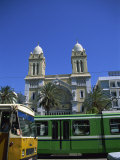 Cathedral with Bus and Tram in Foreground  Tunis  Tunisia  North Africa  Africa