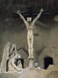 Statue of Christ at the Entrance to Sagrada Familia  the Gaudi Cathedral  Barcelona  Spain