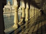Sikh Elder at Prayer at the Golden Temple of Amritsar  Punjab State  India