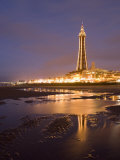 Blackpool Tower Reflected on Wet Beach at Dusk  Blackpool  Lancashire  England  United Kingdom