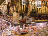 Hams  Jamon and Cheese Stall  La Boqueria  Market  Barcelona  Catalonia  Spain  Europe