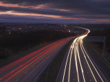 Traffic Light Trails in the Evening on the M1 Motorway Near Junction 28  Derbyshire  England  UK