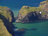 Carrick-A-Rede Rope Bridge to Carrick Island  Larrybane Bay  County Antrim  Ulster