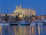 Cathedral and Port  Palma  Majorca  Balearic Islands  Spain  Mediterranean  Europe