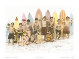 Surf's Up!  Hand Colored Photo of Hawaiian Children