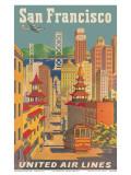 United Airlines San Francisco c.1950 Reproduction d'art par Joseph Feher