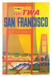 Fly TWA San Francisco  Golden Gate Bridge c1958