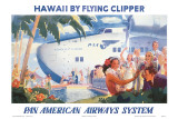 Hawaii by Flying Clipper, Pan American Airways System Reproduction d'art