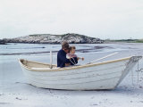 President John Kennedy and John Jr Play in a Beached Rowboat at Newport  Rhode Island 1962