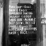 Soul Food; Menu in the Window of a Restaurant  Detroit  Michigan  1940