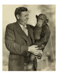 Babe Ruth  Holding Mike  a Chimpanzee at the St Louis Zoological Park Oct 10  1928