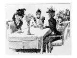 "1898 Drawing by Charles Dana Gibson  Shows Three ""Gibson Girls"" About to Enjoy a Restaurant Meal"