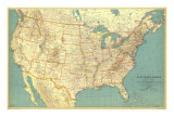1933 United States of America Map Reproduction d'art par National Geographic Maps