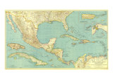 1934 Mexico, Central America and the West Indies Map Reproduction d'art par National Geographic Maps
