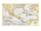 1947 Countries of the Caribbean Map Reproduction d'art par National Geographic Maps