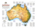 1988 Travelers Look At Australia Map Reproduction d'art par National Geographic Maps