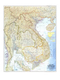 Carte du Vietnam, Cambodge, Laos et Thailand 1967 Reproduction d'art par National Geographic Maps