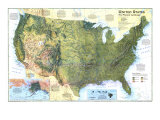 1996 United States, the Physical Landscape Map Reproduction d'art par National Geographic Maps