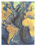 1968 Atlantic Ocean Floor Map Reproduction d'art par National Geographic Maps