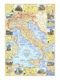 1970 Travelers Map of Italy Reproduction d'art par National Geographic Maps
