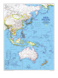 1989 Asia-Pacific Map Reproduction d'art par National Geographic Maps