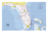 1973 Close-up USA  Florida Map
