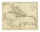 Map of the West Indies  c1796