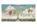 Vol en ballon au dessus de Paris Reproduction d'art par Isiah And Benjamin Lane