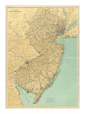 New Jersey State Map, c.1888 Reproduction d'art