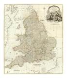 Composite: England, Wales, c.1790 Reproduction d'art par John Rocque