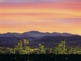 Skyline and Mountains at Dusk  Denver  Colorado  USA