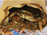 Close-up of Steamed Crabs in a Paper Bag  Maryland  USA