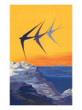 Three Swallows over the Sea